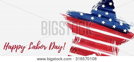 Usa Labor Day Holiday Background.  Grunge Abstract Flag In Star Shape. Template For Holiday Poster,