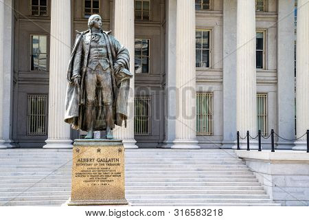 Washington, Dc - August 4, 2019: Exterior Of The United States Department Of Treasury, With Statue O