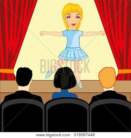 Girl Ballerina Emerges In Common-room Before Spectator