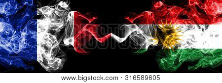 France Vs Kurdistan, Kurdish Smoky Mystic Flags Placed Side By Side. Thick Colored Silky Abstract Sm