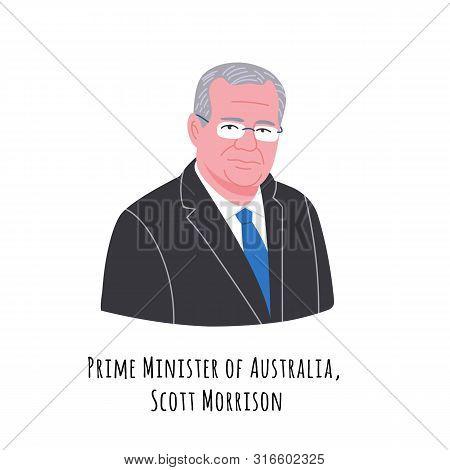 Scott Morrison Hand Drawn Color Portrait Illustration. The Commonwealth Of Australia Prime Minister.