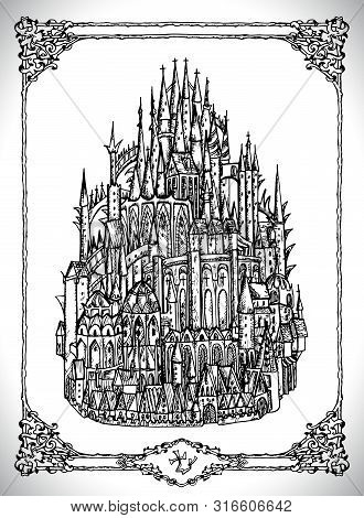Mediaval Castle Or Town With Towers. Vector Line Art Mystic Illustration. Engraved Drawing In Gothic