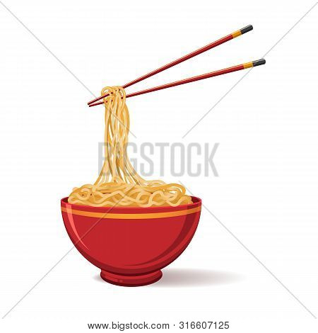 Oriental Noodle Food. Asian Noodles Isolated On White Background, Ramen Tradition Chinese Restaurant