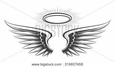 Saint Wings Sketch. Holy Devil Or Angel Wings Drawing, Angeles Feather Hand Drawn Vector Sketch With