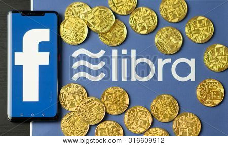 Facebook And Libra Logo, New Electronic Currency.