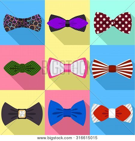 Clothing Bow Tie Icon Set. Flat Set Of 9 Clothing Bow Tie Vector Icons For Web Design Isolated On Wh