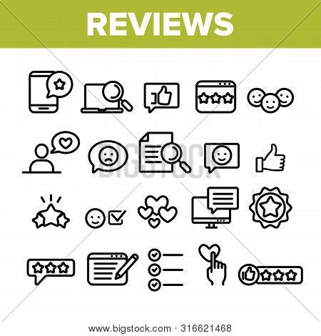 Collection Reviews Thin Line Icons Set Vector. Reviews, Feedback And User Experience Of Client Linea