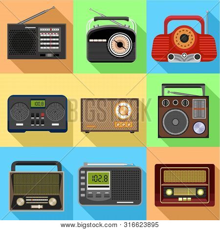 Old Radio Icon Set. Flat Set Of 9 Old Radio Vector Icons For Web Design Isolated On White Background