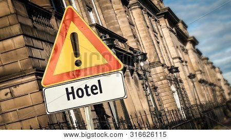 Street Sign To Hotel