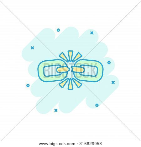Broken Chain Sign Icon In Comic Style. Disconnect Link Vector Cartoon Illustration On White Isolated