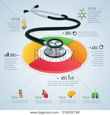 Realistic Stethoscope And Element For Medical Theme Or Infographic