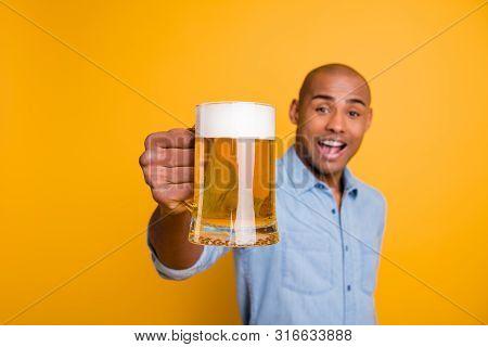 Photo Of Dark Skin Amazing Guy Hold Hands Beer Glass Lets Celebrate Expression Wear Jeans Denim Shir