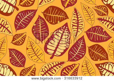 Vector Seamless Pattern With Autumn Leaves. Maroon, Ivory, Yellow, Brown Leaves Isolated On Yellow B