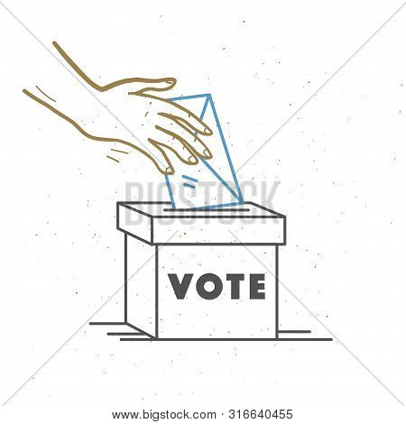 Vector Vote Illustration With Human Hands, Voting Bulletin And Voting Box Isolated On White Backgrou