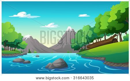 Vector Illustration Mountain And Sky Color Bright
