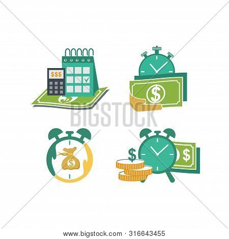 Calendar With Payday Calculator Concept Vector Isolated Illustration