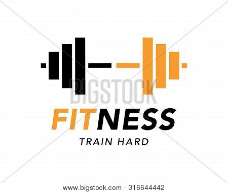 Fitness Gym Logo Sign, Bodybuilding Club Emblem Template. Sport Icon, Power Lifting Logotype With Ba