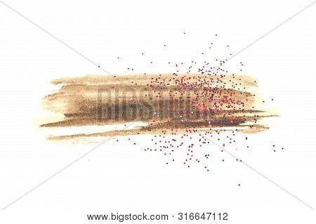 Pink Glitter On Abstract Black Watercolor Splash On White Background