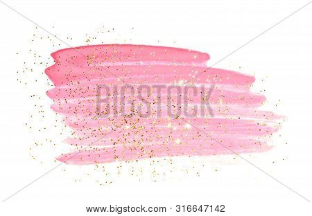 Golden Glitter On Abstract Pink Watercolor Splash On White Background