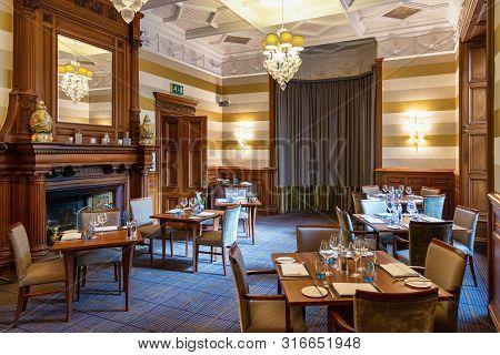 Aberdeen, United Kingdom - August 17, 2014: Luxury Dining Room Interior At Ardoe House Hotel In Scot