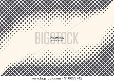 Square Particles Halftone Vector Abstract Geometric Technology Oscillation Wave Isolated On Light Ba