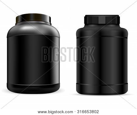 Whey Protein Container. Black Protein Jar. Vector Supplement Can. 3d Plastic Tub For Powder During W
