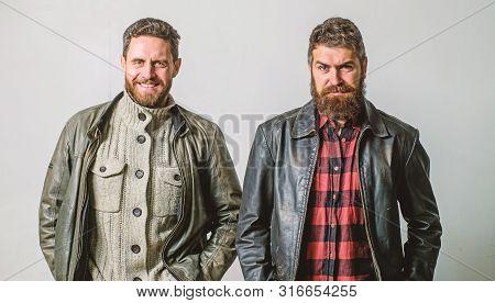 Bully Team. Brutal Men Wear Leather Jackets. Men Brutal Bearded Hipster. Handsome Stylish And Cool.