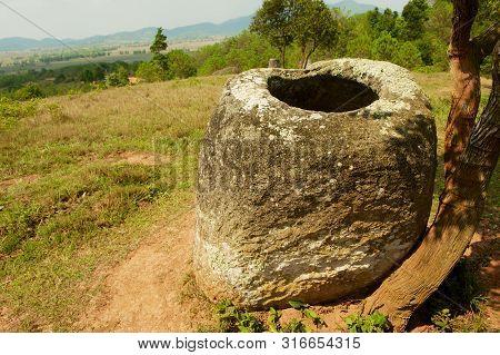 Ancient Stone Jar In A Plain Of Jars (site #2) Near Phonsavan,  Xienghouang Province, Laos.
