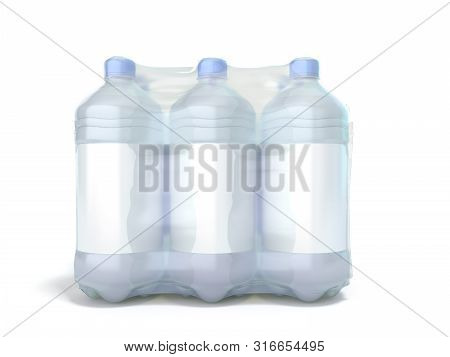 Pat Bottles In Wrapped Package 3d Render On White