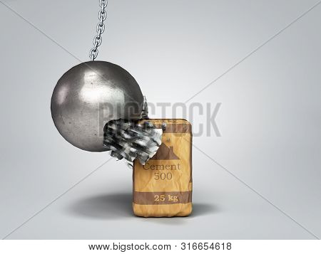 Concept Of Durable Building Materials Crane Hammer Breaks On Cement Packaging 3d Render On Grey Grad
