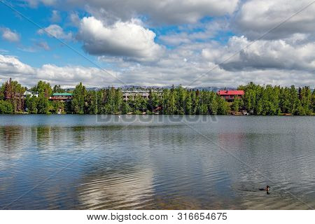 A Scenic View Of Wasilla Lake As Seen From Newcombe Park.