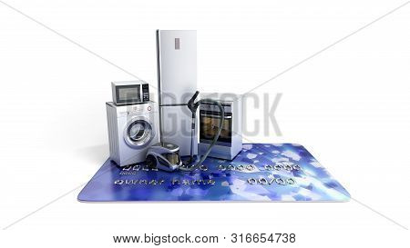Home Appliances On Credit Card E-commerce Or Online Shopping Concept 3d Render On White
