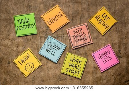 healthy lifestyle and wellbeing concept - a set of inspirational reminder notes