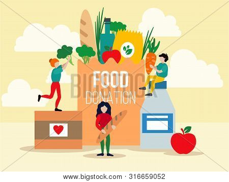 Food Donation Design Vector Illustration. Happy People Helping To Needy And Poor People With Foodstu