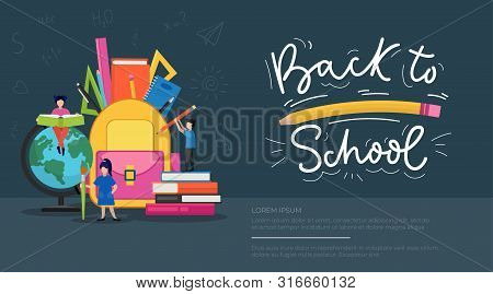 Back To School Banner Vector Illustration. Cartoon People Holding Books, Pencils And Pens And Stashi