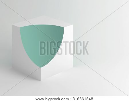 Abstract minimal installation, white cube with green spherical cut sector over soft shaded background. 3d rendering illustration poster
