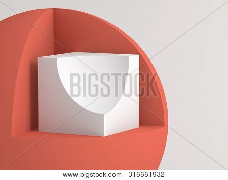 Abstract minimal still life installation. Primitive geometric shapes with cut sectors over white background. 3d rendering illustration poster