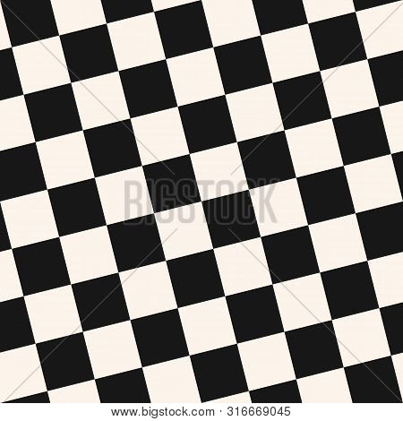 Checkered Seamless Pattern. Black And White Vector Geometric Texture With Small Diagonal Squares, Re