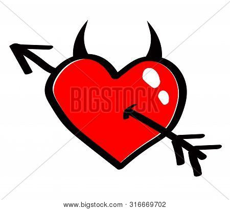 Horned Red Heart With An Arrow Against White Background. Vector Illustration.