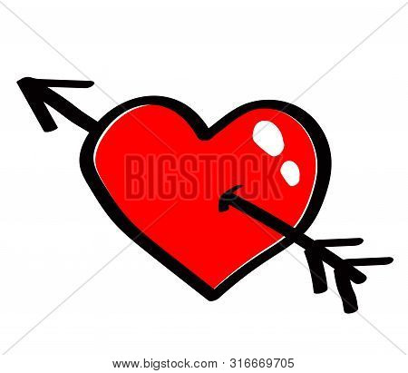 Red Heart With An Arrow Against White Background. Vector Illustration.
