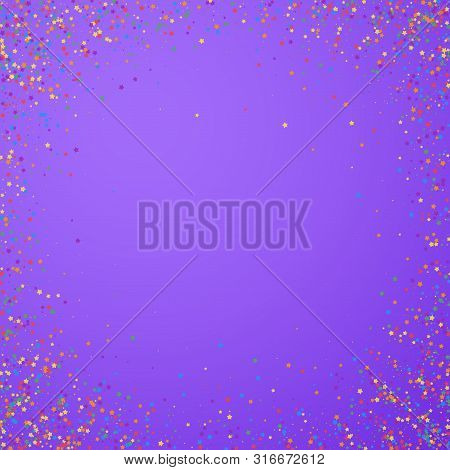 Festive Confetti. Celebration Stars. Childish Bright Stars On Bright Purple Background. Cool Festive