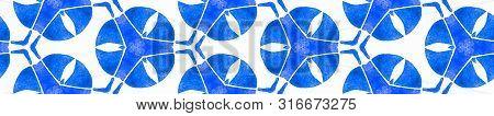 Turquoise Blue Vintage Retro Seamless Border Scroll. Geometric Watercolor Frame. Divine Seamless Pat