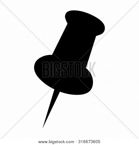 A Black Pushpin Icon Isolated On White Background