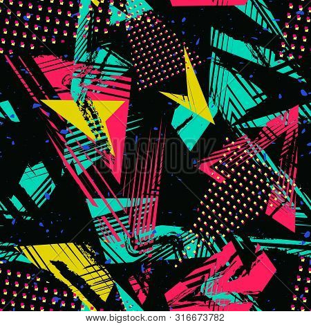 Abstract Neon Seamless Pattern. Urban Street Art. Grunge Texture With Chaotic Lines, Triangles, Brus