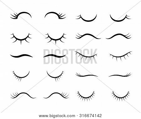 Cartoon Eyelashes. Cute Beautiful Closed Girl Or Unicorn Eyes. Eyelashes With Mascara Makeup Vector