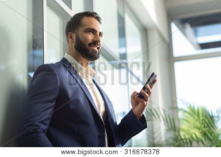 Handsome Bearded Male Person Demonstrating His Smile