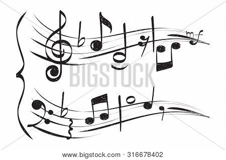 Hand Drawn Musical Note. Staff Treble Clef Notes Musician Vector Isolated On White Background. Music