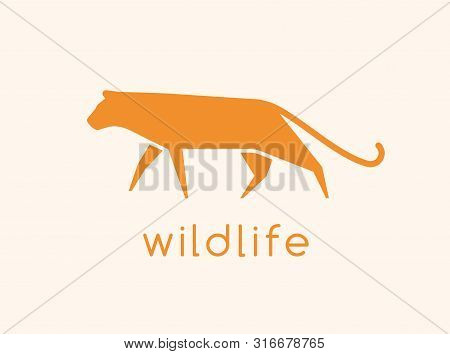 Modern Logotype With Silhouette Of Wild Cat. Logo With Carnivorous Animal, Predatory Felid. Abstract