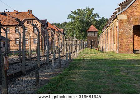 Auschwitz-birkenau, Poland - August 12, 2019: Holocaust Memorial Museum. Part Of Auschwitz- Birkenau