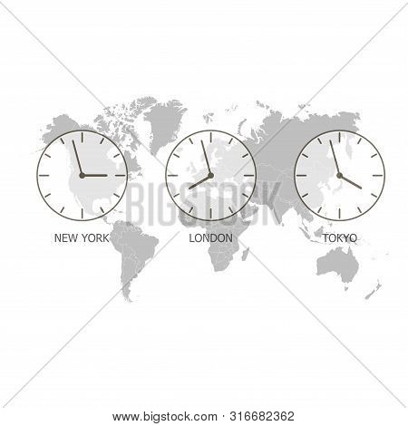 Set Of Clock. World Time On A World Map. Timezone Clock. Vector Illustration